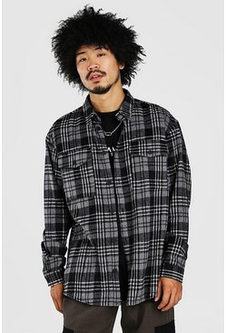 White Oversized Long Sleeve Brushed Check Shirt