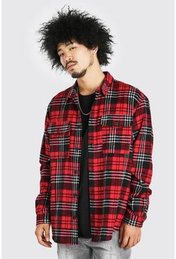 Red Oversized Long Sleeve Brushed Check Shirt