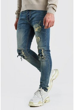 Vintage blue blue Super Skinny Jeans With Bandana Rip Detail