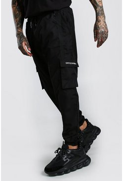 Black Shell 3D Cargo Joggers With Strap Detail