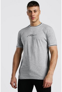 Grey MAN Signature T-Shirt With Sports Rib Neck And Cuff