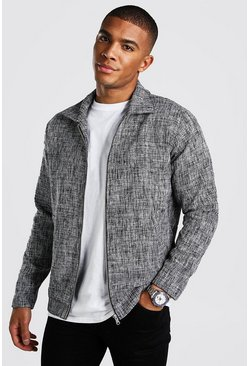 Black Smart Salt And Pepper Unlined Coach Jacket