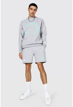 Grey marl grey Official Man Print Short Sweater Tracksuit