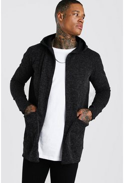 Dark grey Knitted Hooded Edge To Edge Cardigan