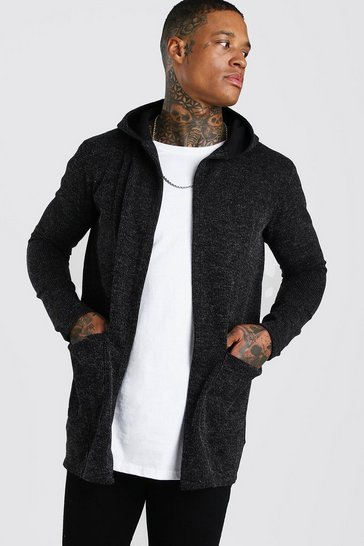Dark grey grey Knitted Hooded Edge To Edge Cardigan