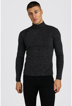 Muscle Fit Soft Touch Knitted Roll Neck Jumper, Grey gris