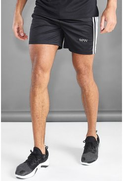 Zwart black MAN Active Panel Shorts van mesh met tapedetail