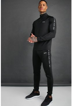 Zwart black Man Active Skinny Fit Trainingspak Met Streep