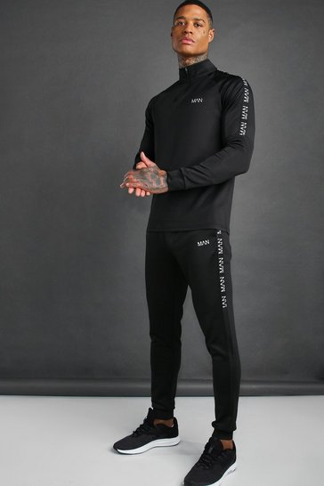 Black MAN Active Skinny Fit Tracksuit With Tape Detail