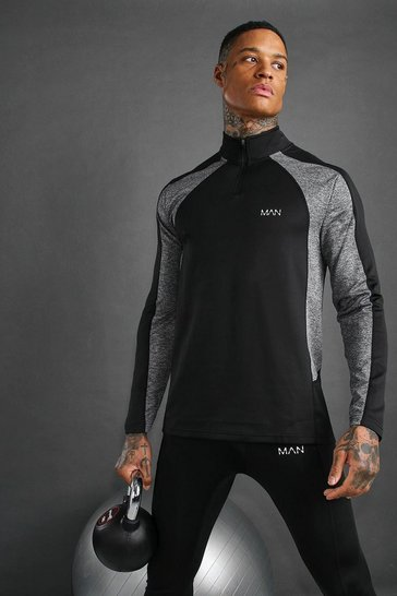 Black MAN Active Muscle Fit Funnel Neck 1/4 Zip Top