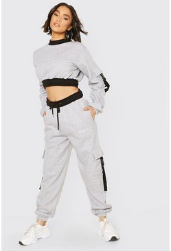 Grey marl grey Her Utility Cropped Sweat Buckle Tracksuit