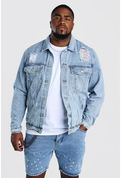 Pale wash Plus Size Rip And Repair Denim Jacket