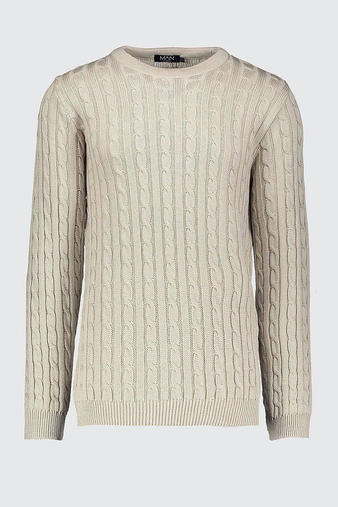 Pull en tricot torsadé ras du cou | boohoo