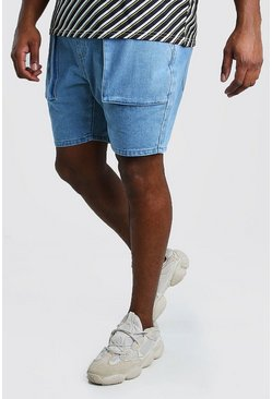 Vintage wash Plus Size Slim Cargo Denim Short