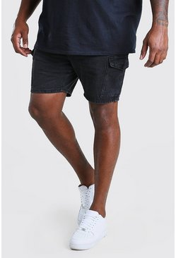 Washed black Plus Size Slim Cargo Denim Short