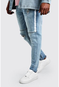Pale blue blå Plus Size Skinny Jean With Side Paint