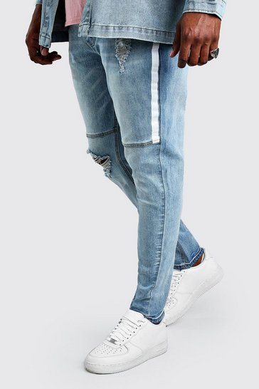 Pale blue blue Plus Size Skinny Jean With Side Paint