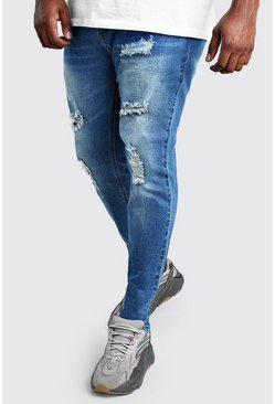 Mid blue Plus Size Skinny Jean With Paint Splatter