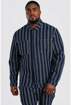 Dark blue Plus Size Jacquard Denim Overshirt