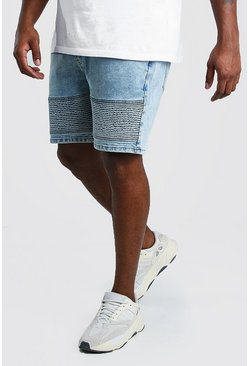 Plus Size Skinny Biker Denim Short , Pale blue Синий