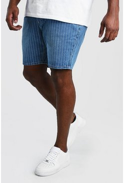 Vintage wash Plus Size Slim Pinstripe Denim Short