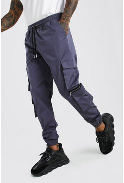 Slate grey MAN Twill Multi Pocket Cargo Trouser With Zips