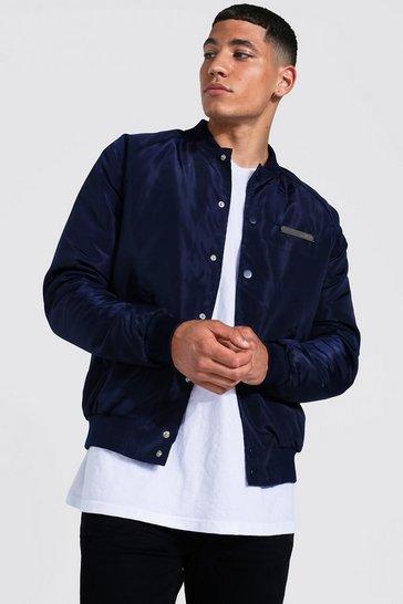 Navy Smart Man Branded Bomber Jacket