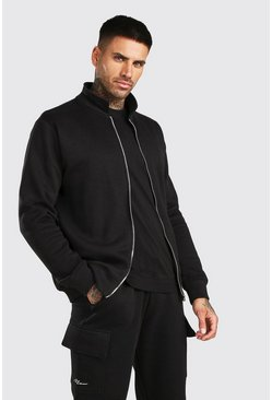 Basic Jersey Harrington Jacket, Black