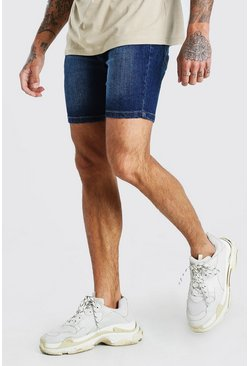Washed indigo blue Skinny Denim Short