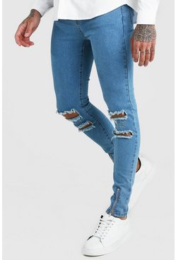Super Skinny Jeans With Busted Knees & Zips, Blue