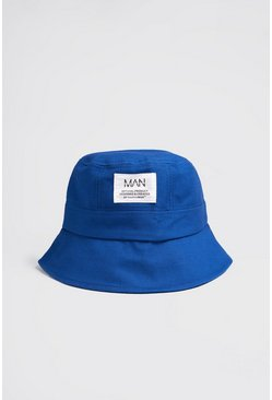 MAN Dash Woven Tab Bucket Hat , Blue azul
