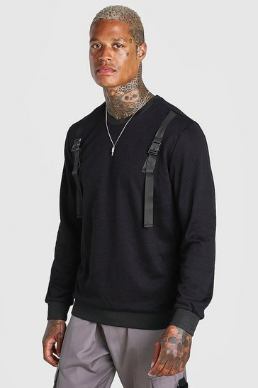 Black Utility Sweatshirt With Buckle Detail