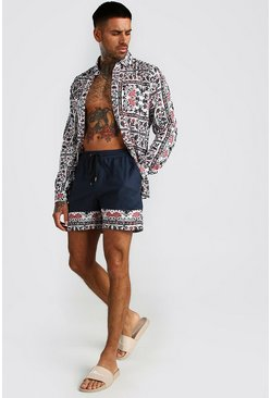 Navy Long Sleeve Tile Print Shirt & Border Short Set
