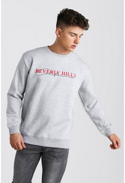 Grey marl Loose Fit Beverly Hills Print Varsity Sweat