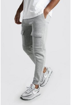 Grey marl Front Pocket Panelled Cargo Jogger