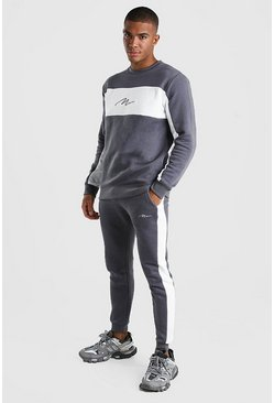 MAN Signature Colour Block Sweater Tracksuit, Slate