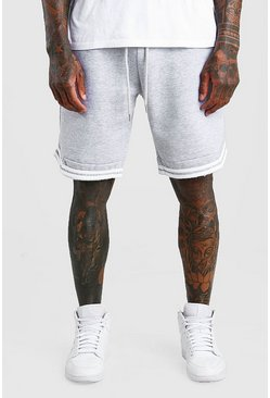 Grey Basic Jersey Relaxed Shorts With Tape