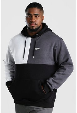 Black Plus Size MAN Dash Colour Block Hoodie