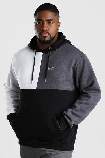Black Big And Tall MAN Dash Colour Block Hoodie