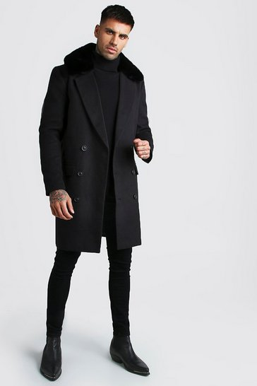 Black Double Breasted Faux Fur Overcoat