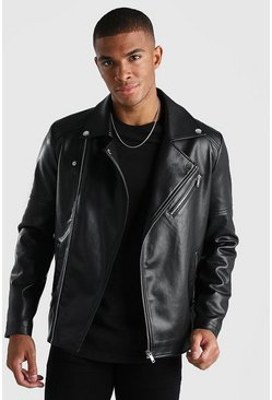 Black Leather Look Biker Jacket