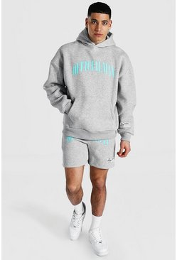 Grey marl grey Oversized Official Man Short Hooded Tracksuit