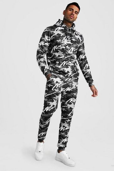Dark grey grey All Over MAN Printed Camo Hooded Tracksuit