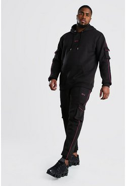 Black Plus Size MAN Dash Cargo Tracksuit
