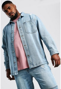 Pale wash Big And Tall Longline Denim Overshirt
