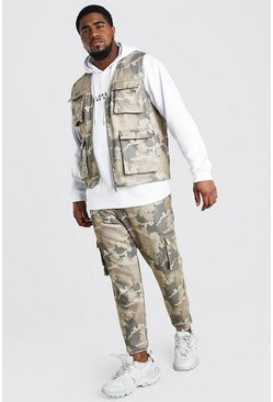 Khaki Big And Tall Camo Jogger And Vest Set