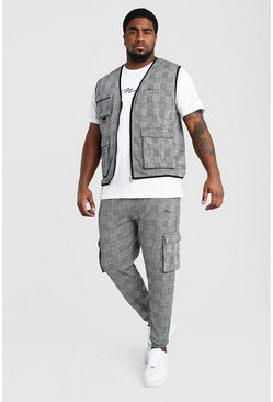 Plus Size MAN Vest And Jogger Set, Grey grigio