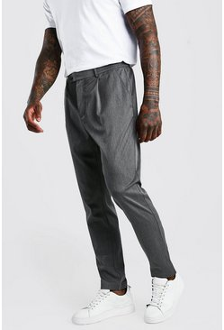 Charcoal grey Skinny Fit Trouser With Pleat