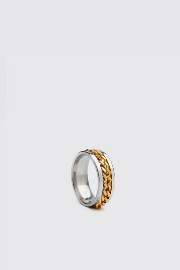 Gold metallic Chain Detail Ring