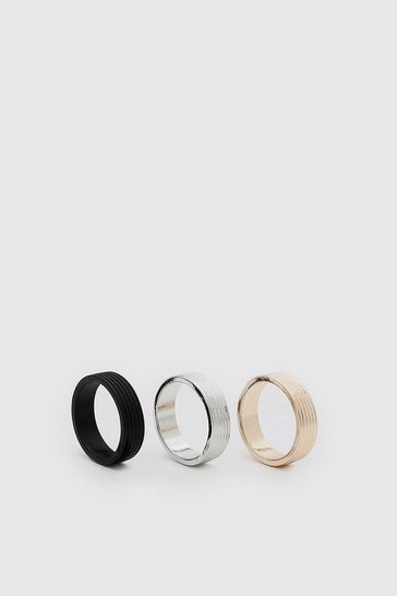 Multi 3 Pack Plain Ring Set